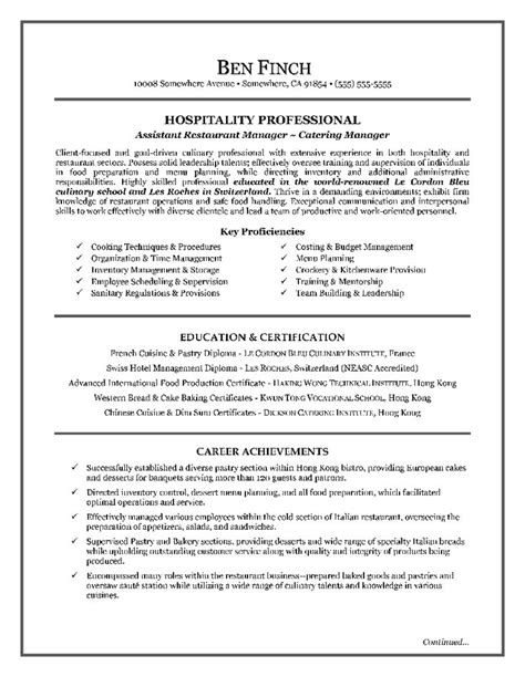 hospitality resume writing exle page 1 resume writing tips for all occupations