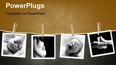 powerpoint template baby and mother camera prints