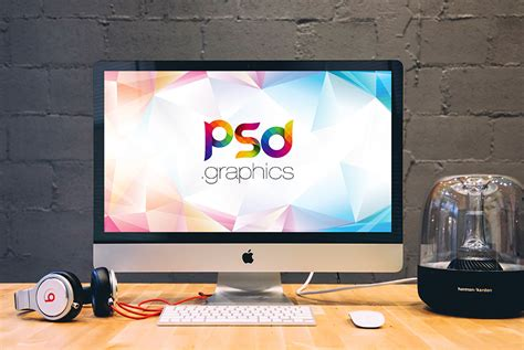 apple imac on desk mockup psd psd graphics