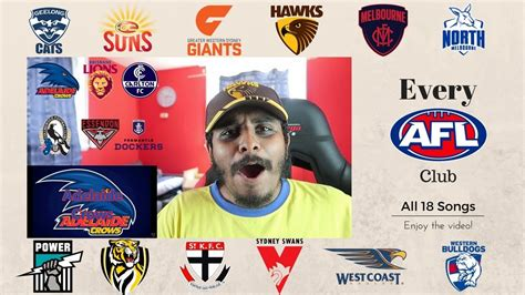 theme songs afl reaction to afl club theme songs youtube