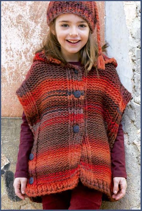 poncho para ni a en crochet y agujas circulares tricot pin de gloria briones leclere en con dos agujas