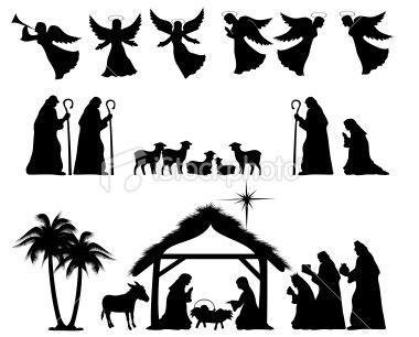 printable nativity stencils nativity silhouette full scene for papercraft window