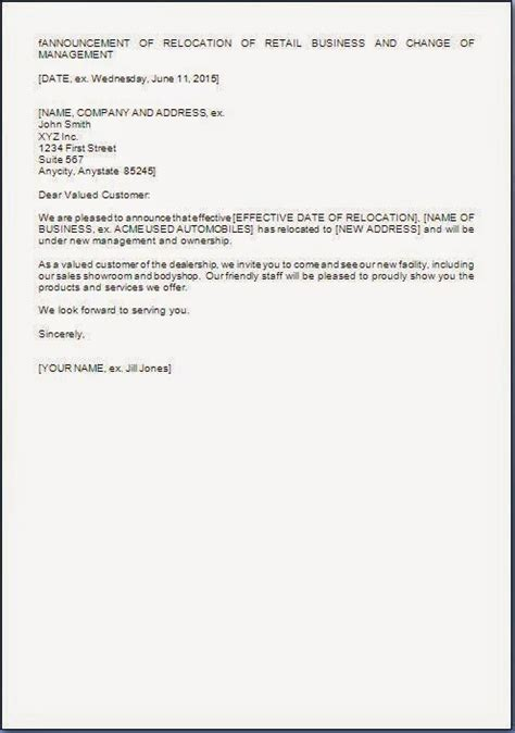 change of management letter template management change letter format to customers