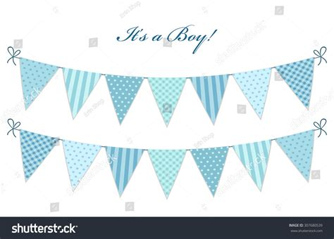 Baby Shower Bunting by Vintage Textile Blue Shabby Chic Bunting Flags For Boy S Baby Shower Stock Photo 307680539