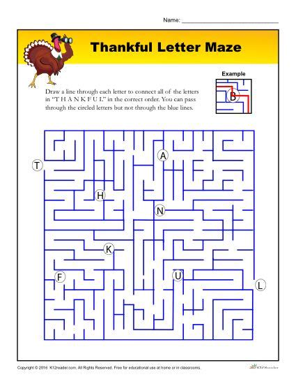 printable maze with multiple exits thankful letter maze maze activities and students