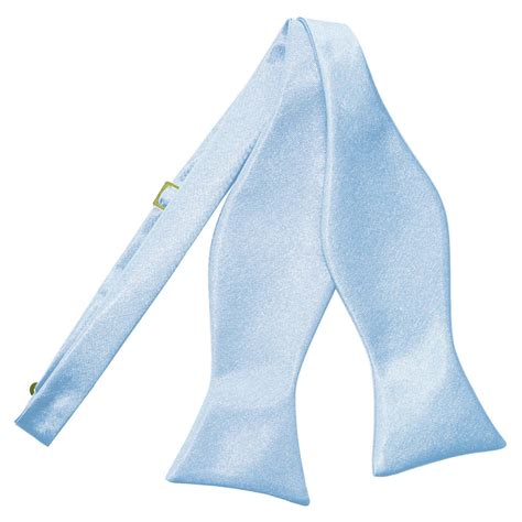 s plain baby blue satin self tie bow tie