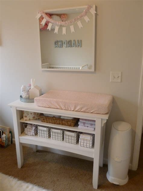 Pink Peach Girls Nursery Design Dazzle Used Baby Changing Table
