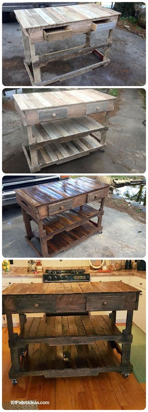 pallets wood made kitchen island 101 pallet ideas pallet projects pinteres