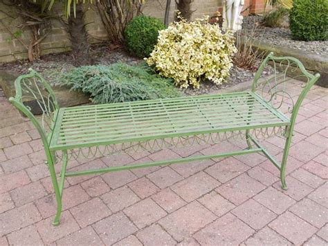 wrought iron backless bench green wrought iron style simple backless garden bench my