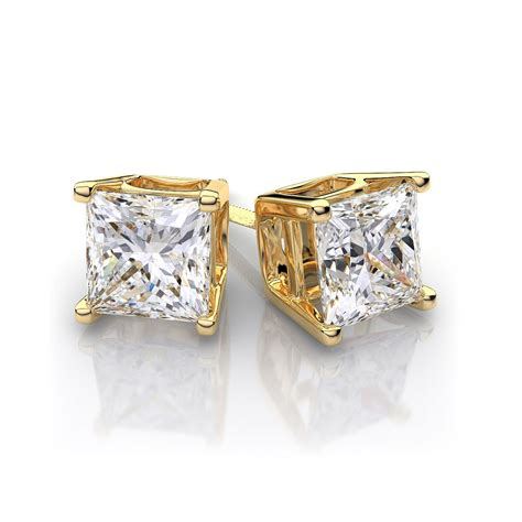 9ct gold square swarovski stud earrings