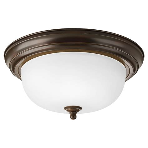 to ceiling two light flush mount dome with etched