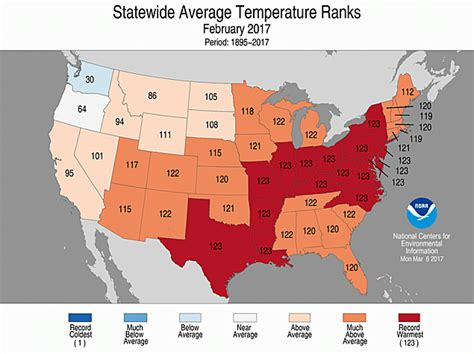 us temperature map february climate and agriculture in the southeast noaa u s had