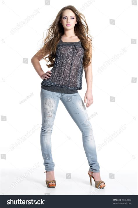 stylish quates poses girlz full portrait beautiful stylish girl fashion stock photo