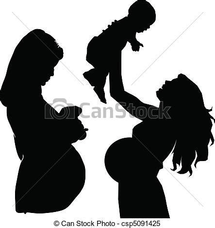 fotos blanco y negro embarazada clipart vectorial de siluetas vector embarazada madre