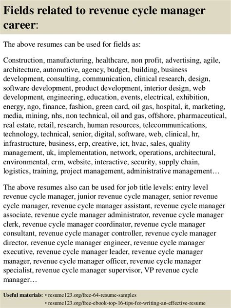 Revenue Specialist Cover Letter by Top 8 Revenue Cycle Manager Resume Sles