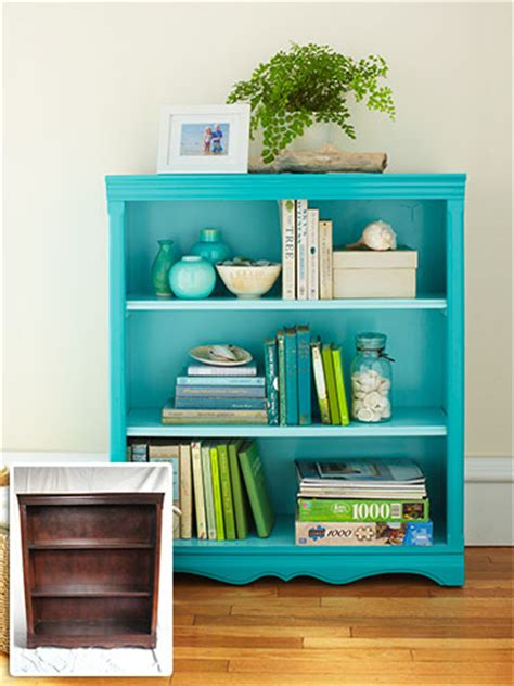 diy project to revive an drab wooden bookshelf