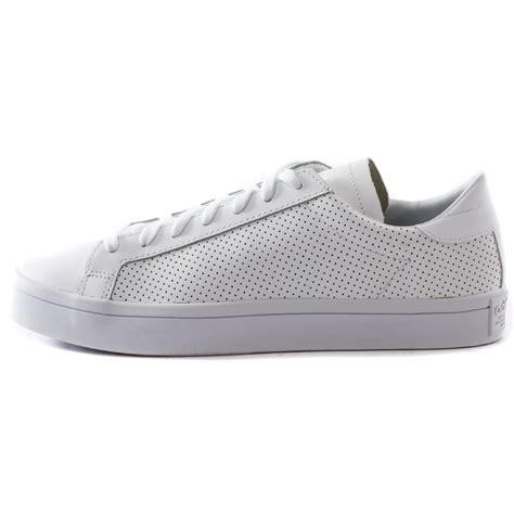 adidas court vantage mens leather white white trainers new