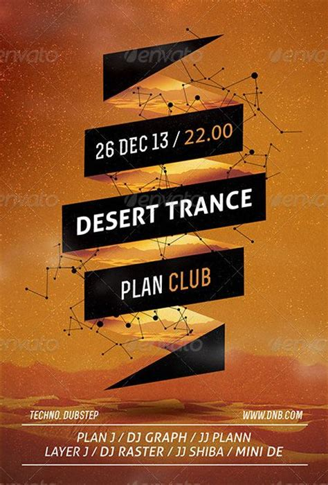event poster template desert trance minimal flyer and poster template http