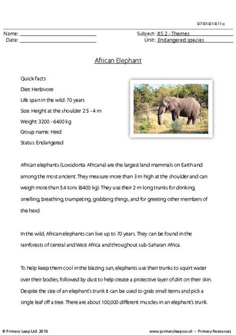 The Elephant Poem Worksheet Answers by Elephant Comprehension Primaryleap Co Uk