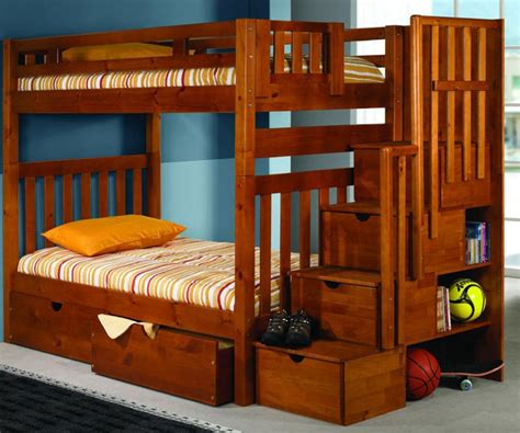 Bunk Beds 200 by Donco Trading Furniture Honey Staircase Bunk Bed 200