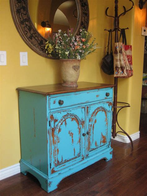 european paint finishes rustic turquoise cabinet