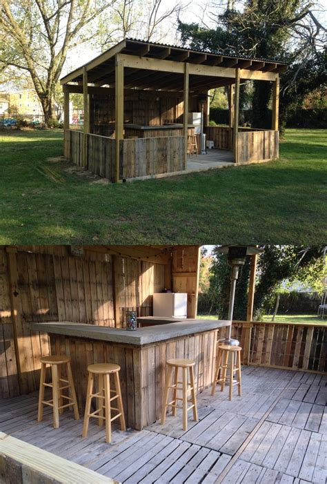 Backyard Bar Outdoor Bar Made From Palettes Concrete Bar Top Diy