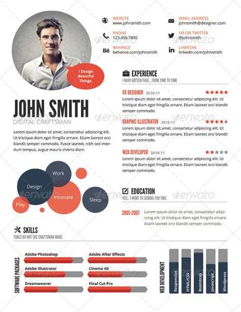 visual resume templates 21 top 5 infographic template to make