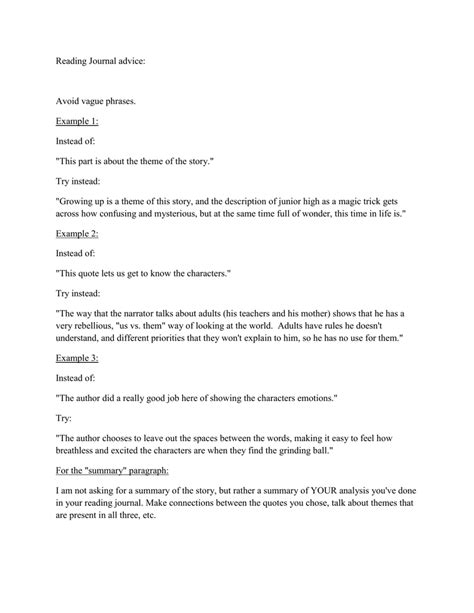 Reading Journal advice: Avoid vague phrases. Example 1: