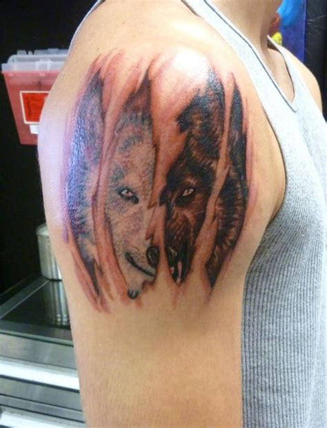 white vs black wolf tattoo design of tattoosdesign of