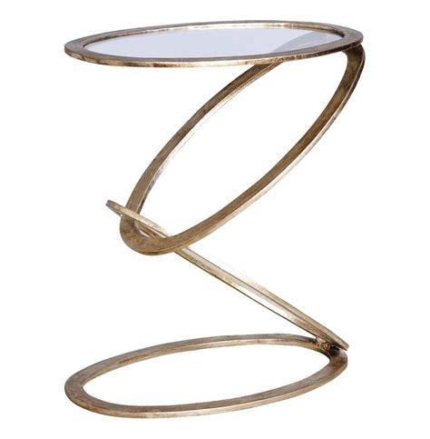 silver metal end table mobius modern sculptural antique silver leaf metal end
