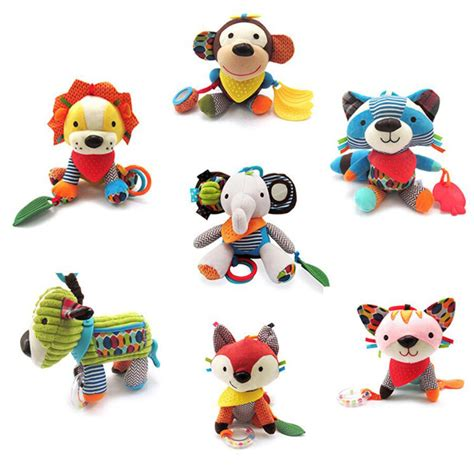 Softbook Teether Rattle Cloth Rattles Stick Animal new sozzy animal style baby rattles mobile bed molar tooth