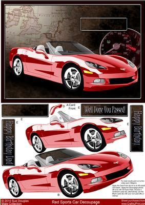 Decoupage Car - sports car decoupage birthday driving test