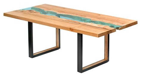 table noir et bois reclaimed wood tables with embedded rivers by greg klassen cube breaker