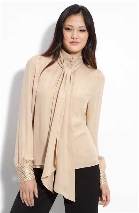 Vince Camuto Satin Bow Neck Blouse by Bow Blouse Gotoglamourgirl