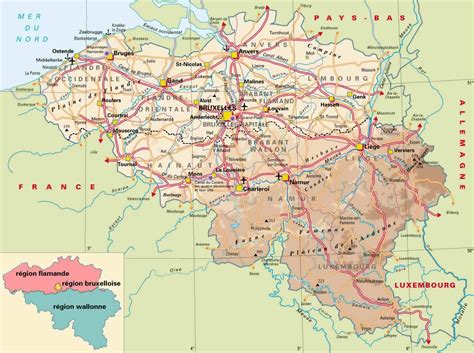 map of belgium airports detailed elevation map of belgium with highways cities