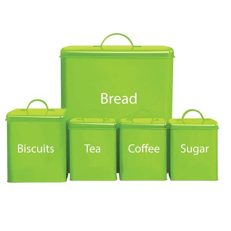 5 Piece Storage Set Kitchen Bread Bin Sugar Coffee Tea Biscuits By Home Discount   eBay