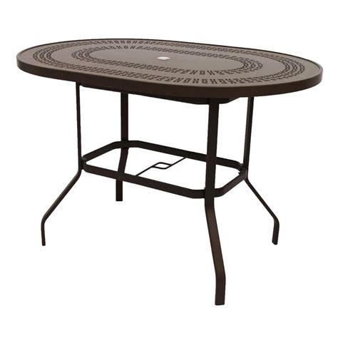 Patio Bar Height Tables Marco Island 42 In X 60 In Cafe Brown Oval Commercial Aluminum Bar Height Outdoor Patio
