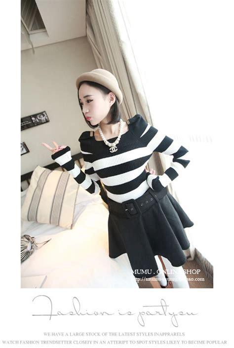 Ftn Blouse Wanita Twiscont Hitam Dan Putih Kotak Sabrina Ro blouse wanita korea hitam putih simple model terbaru jual murah import kerja