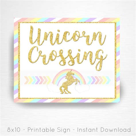 Printable Unicorn Signs | unicorn crossing rainbow birthday party printable sign you