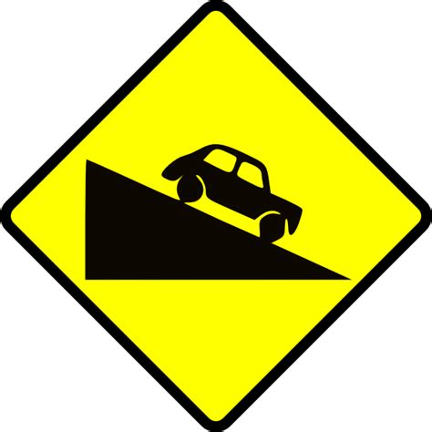 the hill sign caution steep hill clip at clker vector clip