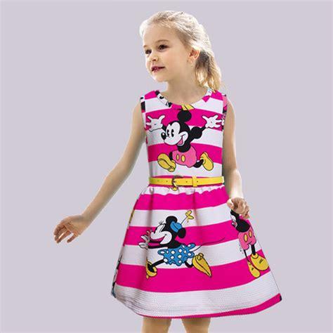 Mickey Casual Dress 1 new summer dress 2016 mickey minne clothes stripe cotton fashion