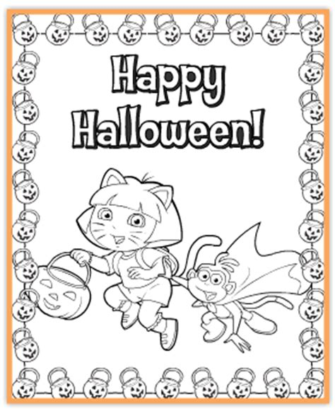 halloween coloring pages dora free dora printable halloween coloring page jinxy kids
