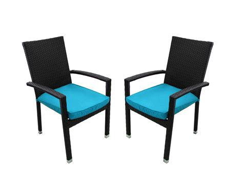 Patio Chair Set Of 2 Set Of 2 Black Resin Wicker Outdoor Patio Furniture Dining Chairs Blue Cushions And