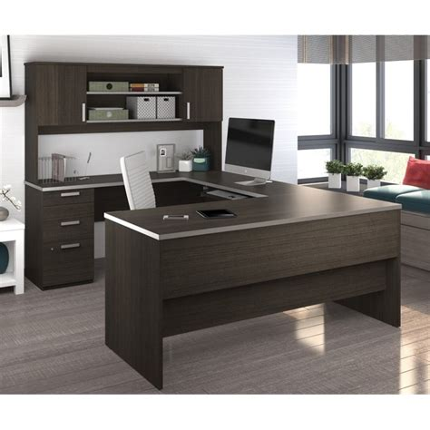 Bestar Ridgeley U Shaped Desk In Dark Chocolate 52414 79 Home Office U Shaped Desk