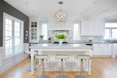 Best Paints For Kitchen Cabinets Soothing White And Gray Kitchen Remodel Transitional