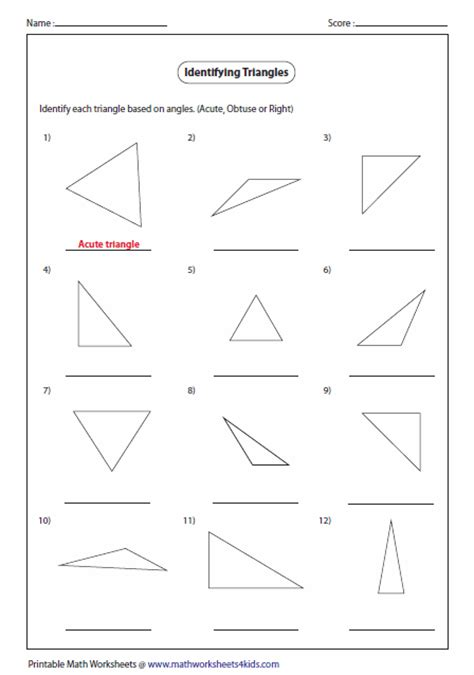 Angles Of Triangles Worksheet by Triangles Worksheets
