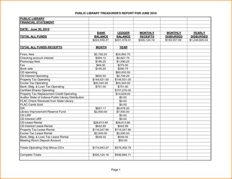 8 Treasurer S Report Template Expense Report Treasurer Report Template Excel