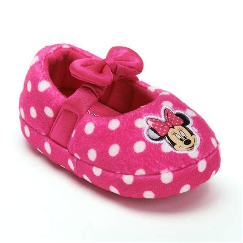minnie mouse shoe slippers minnie mouse disney pink bow plush polka dot slippers nwt