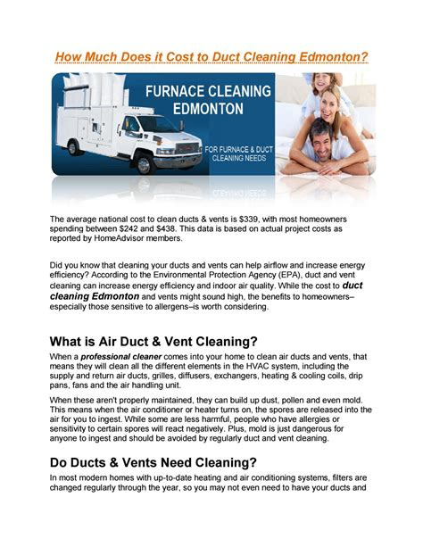 How Much Does Cleaning Cost by How Much Does It Cost To Duct Cleaning Edmonton By