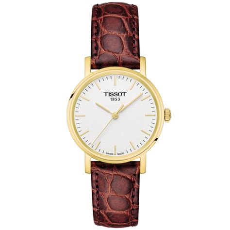 Tissot Gold Leather tissot everytime 30mm yellow gold pvd brown leather